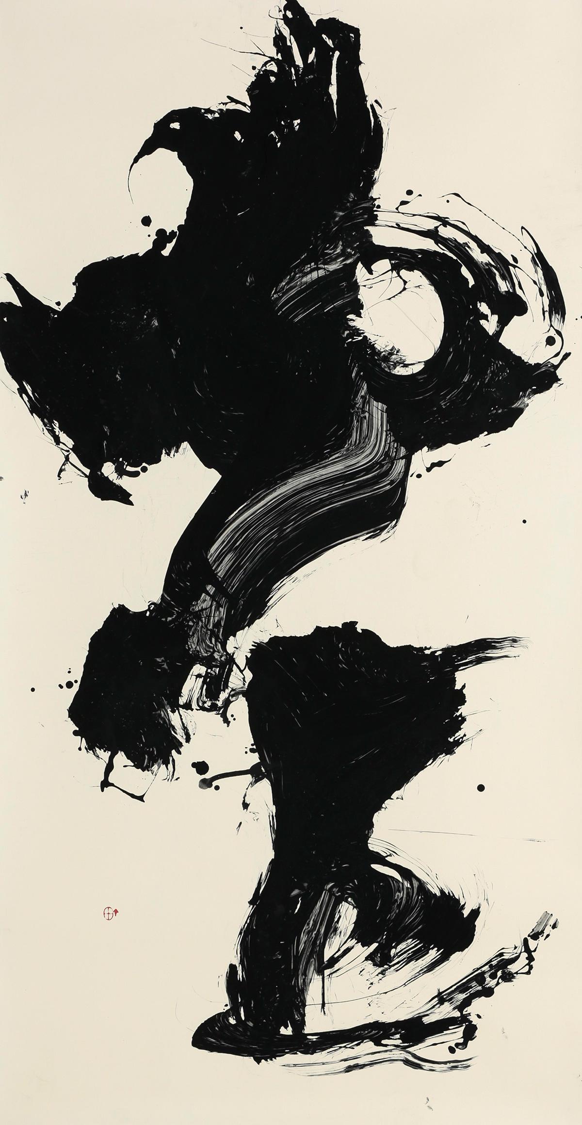 第35回記念産経国際書展出品作「鉅のイメージ」(縦180×横90センチ)